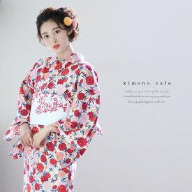 レディース 浴衣 単品 オレンジピンク桜 キモノカフェオリジナル浴衣 フリーサイズ レトロ 大人