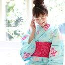 レディース 浴衣 単品水色ピンク 桔梗 キモノカフェオリジナル浴衣 フリーサイズ レトロ 大人