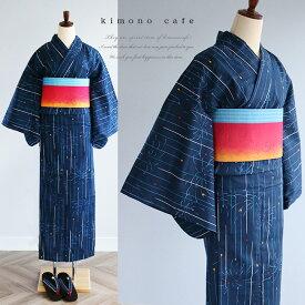 【ブラックフライデー】 レディース 浴衣 単品 線香花火柄 日本製生地 変わり織り浴衣 大きいサイズ 小さいサイズ