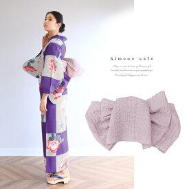 浴衣 セット 2点セット 市松薔薇 パープル 麻 兵児帯 浴衣セット kimonocafe フリーサイズ Sサイズ ワイドサイズ TLサイズ
