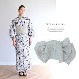 浴衣 セット 2点セット ライン モノトーン 麻 兵児帯 浴衣セット kimonocafe フリーサイズ Sサイズ ワイドサイズ TLサイズ