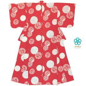 moika 浴衣 レディース 単品 Mサイズ レトロ 赤 レッド 手毬 輪 衿芯付き 女性用 仕立て上がり
