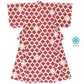 moika 浴衣 レディース 単品 Mサイズ レトロ 赤 レッド 四つ葉 小紋 衿芯付き 女性用 仕立て上がり