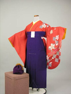 Period limited party teacher graduation ceremony kimono kimono hakama round-trip graduation hakama kimono rental 2 Shaku sleeve plain hakama set No, 2L43.