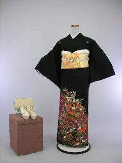 Set Crest formal wedding ceremony women kimono kimono dress Edo wife several years ago tomesode tomesode cheap kimono wedding wedding kimono kimono round black tomesode rental No.111-20 points