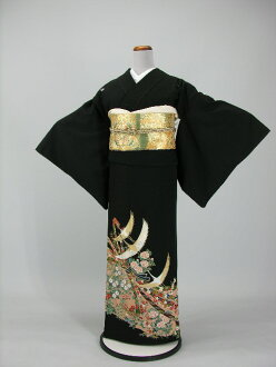 Set Crest formal wedding ceremony women kimono kimono dress Edo wife several years ago tomesode tomesode re low cheap kimono wedding wedding kimono kimono round black tomesode rental No.117 / 20 points