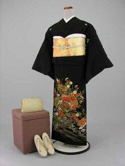 Set Crest formal wedding ceremony women kimono kimono dress Edo wife several years ago tomesode tomesode re low cheap kimono wedding wedding kimono kimono round black tomesode rental No.113-20 points