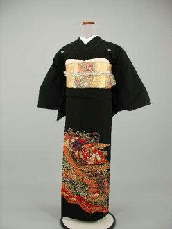 Set Crest formal wedding ceremony women kimono kimono dress Edo wife several years ago tomesode tomesode re low cheap kimono wedding wedding kimono kimono round black tomesode rental No.109-20 points