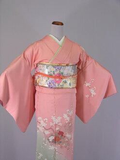 Formal pink flesh-colored cream color wedding wedding kimono wedding feast shrine kabukichō graduation ceremony entrance ceremony graduation wedding party silk kimono kimono trip visiting with lower rental KF104 / set of 6