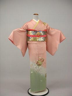 Kimono with a visiting lower formal pink flesh-colored cream color wedding wedding kimono wedding feast shrine kabukichō graduation ceremony entrance ceremony graduation wedding party silk kimono rental KF, 20 points set-1