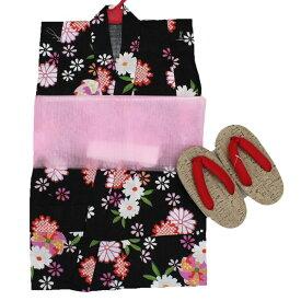 浴衣 子供浴衣 女の子 セット キッズ 幼児 3点セット 110サイズ 黒 お花 かわいい 夏祭り 花火大会