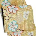 礼装 袋帯 未仕立て「重ね扇に、桜」佐々木染織(株)謹製 振袖帯 西陣織 日本製 フォーマル <T>【メール便不可】