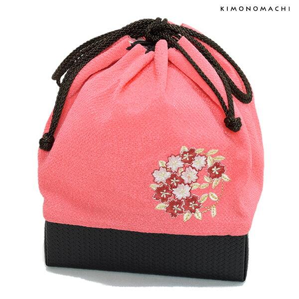 刺繍 巾着「ピンク色 桜の輪刺繍」袴巾着 ちりめん巾着 【メール便不可】