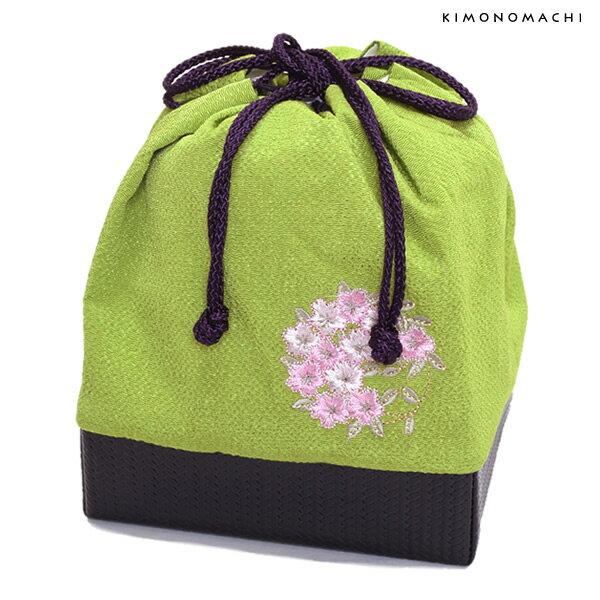 刺繍 巾着「抹茶色 桜の輪刺繍」袴巾着 ちりめん巾着 【メール便不可】