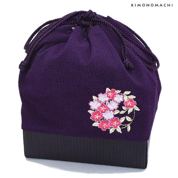 刺繍 巾着「紫色 桜の輪刺繍」袴巾着 ちりめん巾着 【メール便不可】