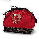 【卒業式の袴巾着】刺繍 籠巾着「赤色 雪輪に桜の刺繍」袴巾着 日本製 巾着バッグ単品 卒業式の袴姿に、普段使いに …