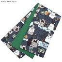 木綿 半幅帯「ブルーグレー カチカチ山」長尺もあります 日本製 洒落帯 半巾帯 <H>【メール便不可】