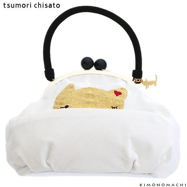 ツモリチサト がま口バッグ「白×ゴールド 猫」ベルベット 刺繍バッグ 振袖バッグ 成人式の振袖に <H>【メール便不可】