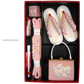 七五三 箱迫セット「ピンク色 桜の刺繍」箱迫、バッグ、草履、帯締め、末広 日本製 七五三小物セット ひな祭り、桃の節句 No.608ピンク【メール便不可】
