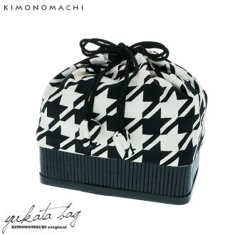 """For bamboo basket drawstring purse one piece of article """"black X white cross-woven lattice"""" Kyoto kimono town yukata drawstring purse drawstring purse bag summer festival, a fireworks display"""