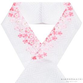 刺繍 半衿「白色 ピンクの桜刺繍」七五三に 子供半衿 刺繍半襟 七五三小物 <H>【メール便対応可】