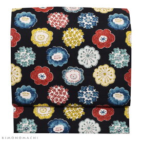 木綿 名古屋帯「編み物風のお花」長尺もあります 日本製 洒落帯 名古屋仕立て <H>【メール便不可】