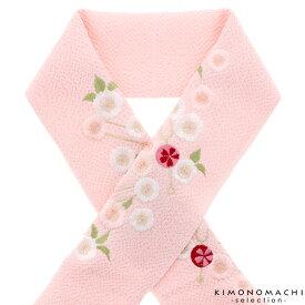 刺繍 半衿「ピンク色 かんざし、桜」刺繍半襟 前撮り、成人式の振袖に 振袖衿 振袖小物 <H>【メール便不可】