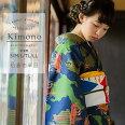 洗える着物袷「ネイビー日本を船旅」袷着物単品レディースキモノサイズSMLTLLL【メール便不可】