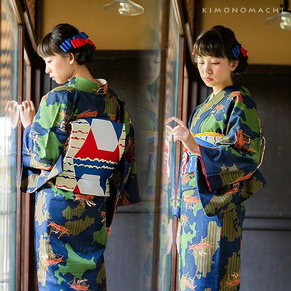 京袋帯、袷 着物セット「ネイビー 日本を船旅」S、M、L、TL、2L 帯、着物セット kimonomachiオリジナル 小紋、普段着物 【メール便不可】