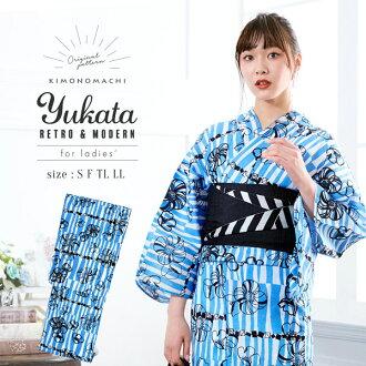 "Large personality fancy weaving cotton woman yukata one piece of article woman yukata yukata yukata which yukata Lady's one piece of article ""blue nostalgic flower"" S F TL LL size KIMONOMACHI Kyoto kimono town original nostalgic modishness has a cute"