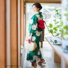 "Large personality fancy weaving cotton woman yukata one piece of article woman yukata yukata yukata which yukata Lady's one piece of article ""chrome green poppy"" S F TL LL size KIMONOMACHI Kyoto kimono town original nostalgic modishness has a cute"
