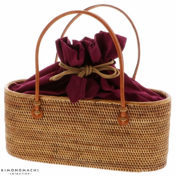 オーバル横長 アタバッグ「ナチュラル×グレープ」アタ 夏バッグ 夏祭り、花火大会に 籠バッグ 【メール便不可】