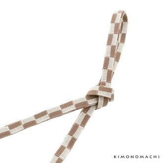 "Close it string one piece of article obi cord three minutes for string ""brown X ecru Ichimatsu doll"" pure silk fabrics three minutes for pure silk fabrics three minutes; a joke accessory <H>"