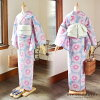 "Newly made diaphragm yukata one piece of article ""essence of the Myosotis scorpioides-colored X rose pink"" full bloom Arimatsu diaphragm woman yukata Lady's yukata cotton newly made yukata"