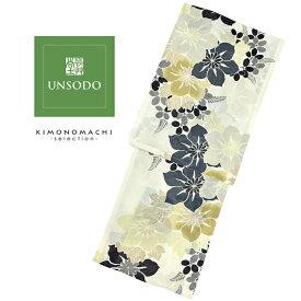 UNSODO ブランド浴衣単品 「グレー薄灰カーキの花(9U-12)桂友同机会」 Fサイズ