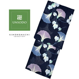 UNSODO ブランド浴衣単品 「紺地に横朝顔(9U-4)桂友同机会」 Fサイズ