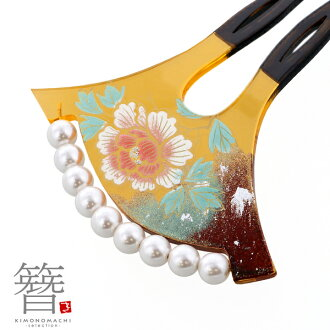 """Formal kimono formal kimono with a decorated skirt black formal kimono with a decorated skirt visiting dress dyed cloth without a pattern wedding ceremony party <H> for the ornamental hairpin drumstick type """"tortoiseshell-like pink peony #756"""" gink"""
