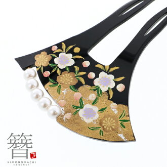 """Formal kimono formal kimono with a decorated skirt black formal kimono with a decorated skirt visiting dress dyed cloth without a pattern wedding ceremony party <H> for the ornamental hairpin drumstick type """"black ground pearl plum #797"""" ginkgo typ"""