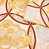 振袖 帯「生成り 輪繋ぎに松」 日本製 ポリエステル帯 お仕立てあがり 振袖用 袋帯 お仕立て済 振袖帯 二重太鼓 変わり結び可能 <T>