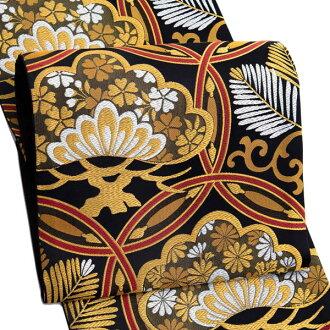 振袖 帯「黒地 輪繋ぎに松」 日本製 ポリエステル帯 お仕立てあがり 振袖用 袋帯 お仕立て済 振袖帯 二重太鼓 変わり結び可能 <T>