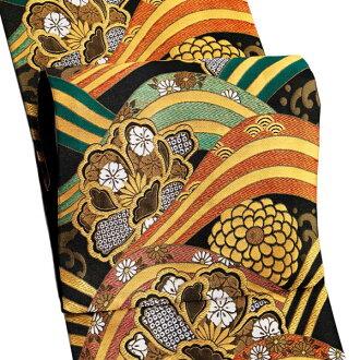 振袖 帯「黒地 波に牡丹、菊」 日本製 ポリエステル帯 お仕立てあがり 振袖用 袋帯 お仕立て済 振袖帯 二重太鼓 変わり結び可能 <T>
