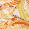 振袖 帯「生成り 波に牡丹、菊花」 日本製 ポリエステル帯 お仕立てあがり 振袖用 袋帯 お仕立て済 振袖帯 二重太鼓 変わり結び可能 <T>