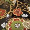 振袖 帯「黒地 輪繋ぎに桜」 日本製 ポリエステル帯 お仕立てあがり 振袖用 袋帯 お仕立て済 振袖帯 二重太鼓 変わり結び可能 <T>