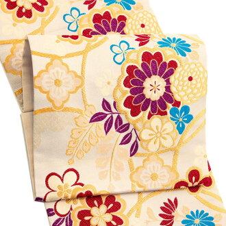 振袖 帯「ベージュ 輪繋ぎに桜」 日本製 ポリエステル帯 お仕立てあがり 振袖用 袋帯 お仕立て済 振袖帯 二重太鼓 変わり結び可能 <T>