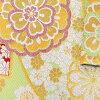 振袖 帯 「薄緑色 扇に花」 日本製 西陣織 証紙番号2362 大光株式会社謹製 絹 未仕立て 六通柄 振袖用 袋帯 振袖帯 <T>