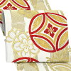 振袖 帯 「白地 竹に七宝」 日本製 西陣織 証紙番号2362 大光株式会社謹製 絹 未仕立て 六通柄 振袖用 袋帯 振袖帯 <T>