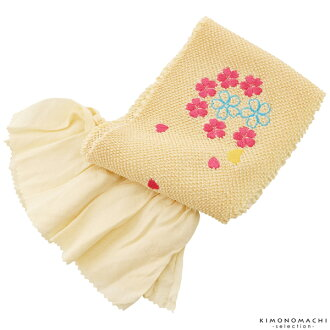 """To """"a complete tie-dyeing embroidery cherry tree butterfly beige"""" for the obi bustle child 753 of the child obi bustle complete tie-dyeing pure silk fabrics obi bustle woman children child"""
