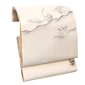"9 sun of pure silk fabrics Nagoya style sash ""off swan beast clowning style of painting"" newly made Nagoya style sash drum pattern joke zone Nagoya style sashes casual lady's joke zone"