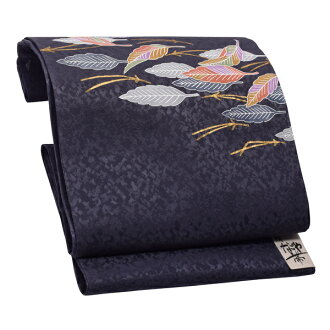 """9 sun of pure silk fabrics Nagoya style sash """"dark blue dead leaves"""" newly made Nagoya style sash drum pattern joke zone Nagoya style sashes casual lady's joke zone"""