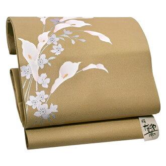 """9 sun of pure silk fabrics Nagoya style sash """"incense color color"""" newly made Nagoya style sash drum pattern joke zone Nagoya style sashes casual lady's joke zone"""